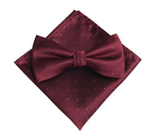 Men's Wine Red Silk Cravat Prom Wedding Ties Bow Set with Matching Pocket Round