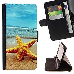 For Apple iPhone 5 / iPhone 5S,S-type Playa Starfish- Dibujo PU billetera de cuero Funda Case Caso de la piel de la bolsa protectora