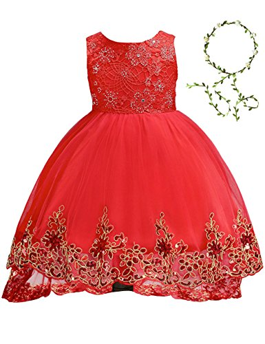 21KIDS Elegant Sleeveless Sequins Hem Tulle Long Tail Wedding Party Princess Gown Pageant Dress(Red,4-5 Years)