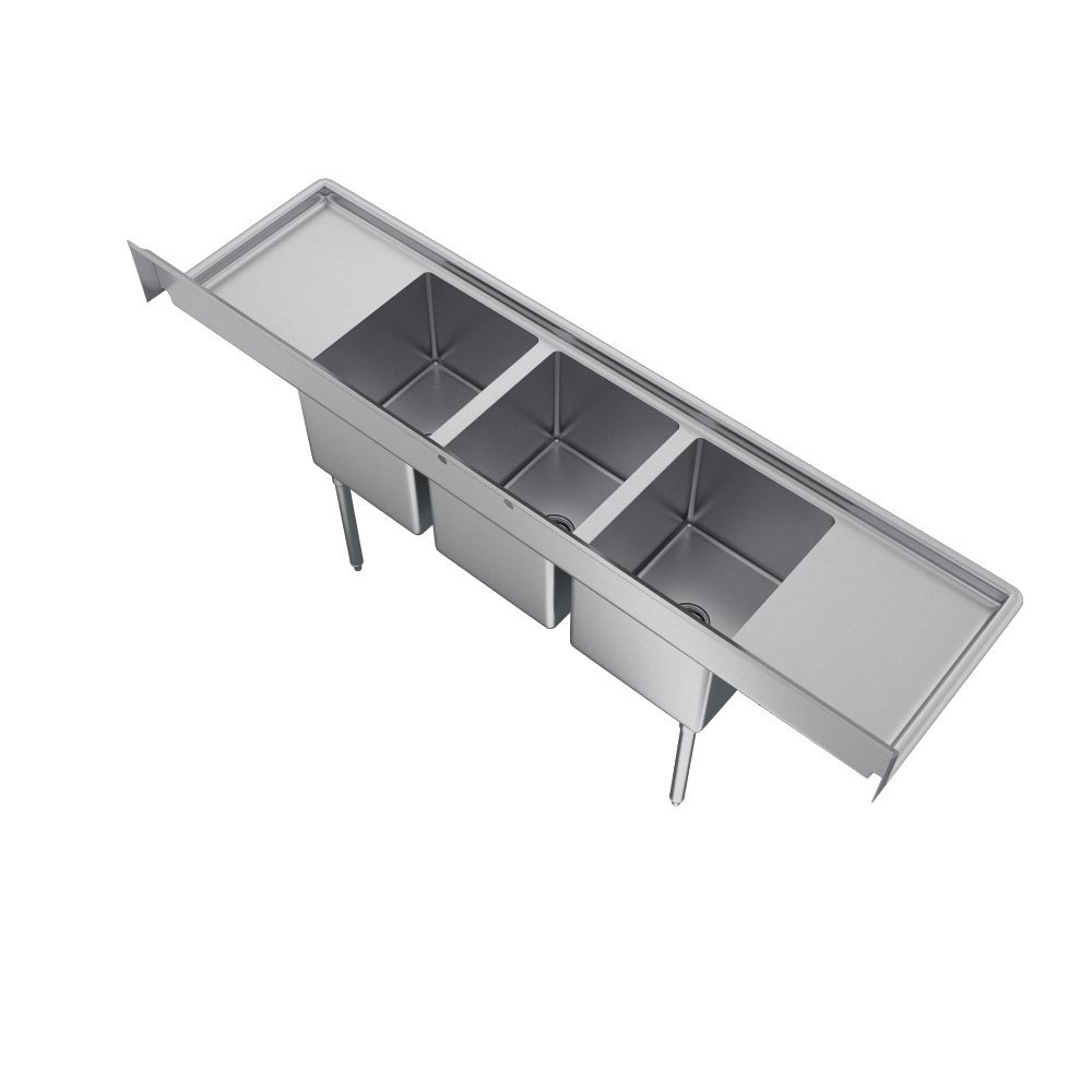 Elkay Foodservice 3 Compartment Sink, 66''X19.75'' OA, 36'' Working Height, 10X14 Bowl, 10 Deep, 10.75'' Backsplash, Left & Right 16 Drainboards, 8'' On Center Faucet Hole, Galvinized Legs, Adjustable Feet, 16 Gauge 300 Series Stainless Steel, NSF Certified by Elkay (Image #6)