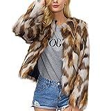 Shilanmei Women's Chic Fluffy Faux Fur Coat Winter Warm Jacket Cardigan Long Sleeve Outerwear Tops