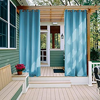 NICETOWN Outdoor Blackout Drapes 95 inches - Thermal Insulated Ring Top Blackout Outdoor Indoor Window Curtain/Drape (1 Panel,52 x 95 Inch, Teal Blue)