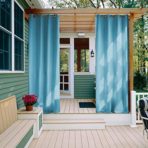 NICETOWN Outdoor Gazebo Curtains - Silver Grommet Blackout Waterproof Indoor Outdoor Curtain/Drape for Balcony (1 Panel,52 by 84 Inch, Turquoise Blue)