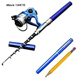 Smart Kingfisher 63Inch/160CM Mini Pocket Pen Fishing Rod Reel Combos Portable for Kids Ice Fishing
