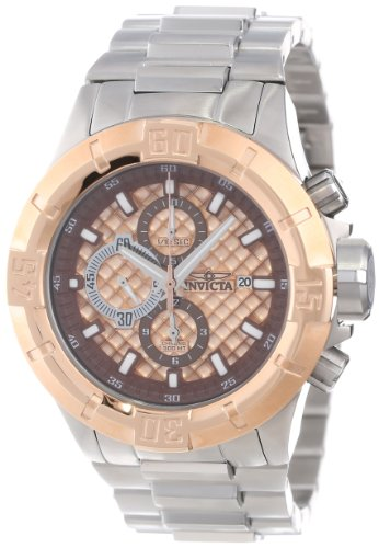 (Invicta Men's 12373 Pro Diver Chronograph Rose Textured Dial Stainless Steel Watch)