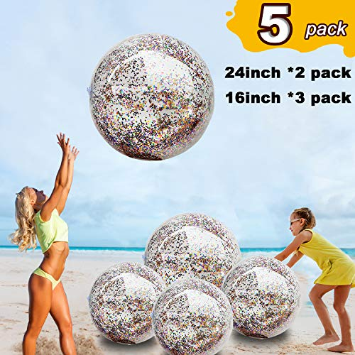 "5 Pack Inflatable Sequin Beach Ball Jumbo Pool Toys Balls Giant Confetti Glitter Transparent Beach Balls Swimming Pool Garden Party Favors Water Fun Toys ball for Kids Adults 24""-2 Pieces,16""-3 Pieces"