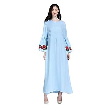 xinxinyu Mujer Ropa ❤ Muslim Caftán Abaya jilbab Sticken Ropa ❤ Mujer Pure Color Medio Este