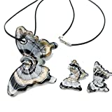 Crosby Butterfly And Silverfoil Lampwork Murano Glass Necklace Earrings Set,jewelry Set