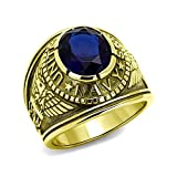Men's Ip Gold Plated Stainless Steel Blue Oval Glass US Navy Ring,Size:11