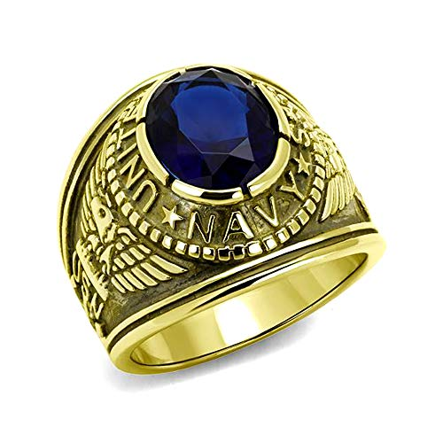 Men's Ip Gold Plated Stainless Steel Blue Oval Glass US Navy Ring ()
