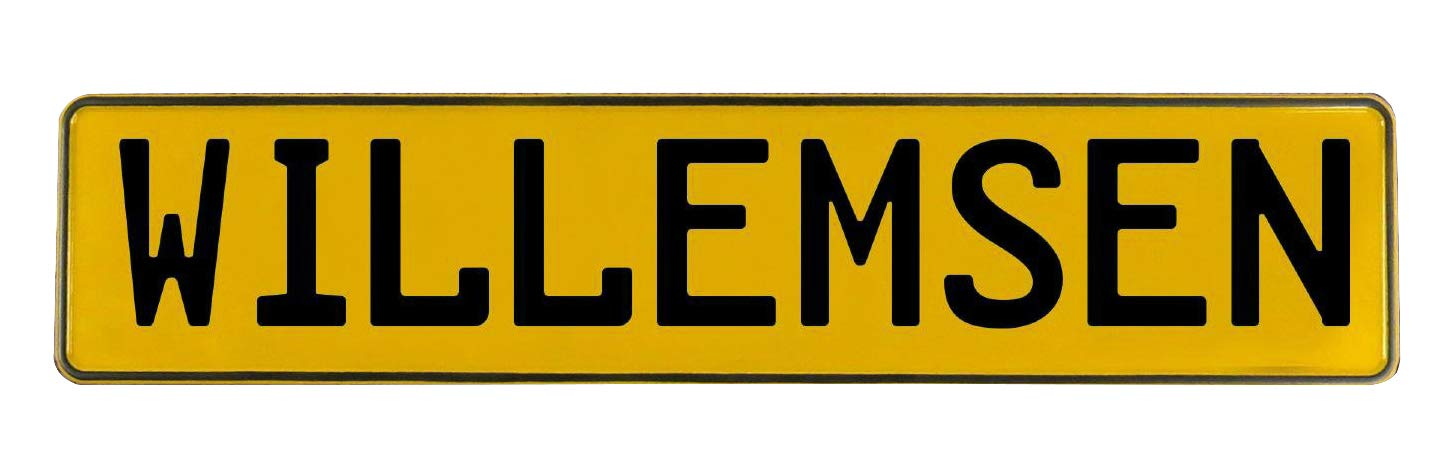 Vintage Parts 783094 Wall Art Willemsen Yellow Stamped Aluminum Street Sign Mancave