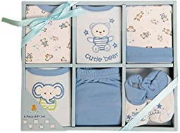 Big Oshi Baby Infants 6 Piece Layette Gift Set, Blue, 0-6 Months