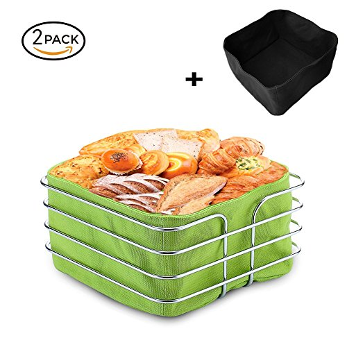 Stainless Steel Bread Basket, Fortune Candy 8 inch Square Food Serving Basket Bread Storage with 2Piece Canvas Bag, Green & - Square Serving Basket