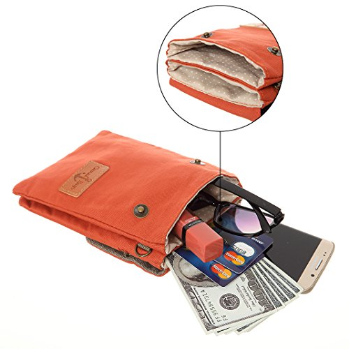 Purse Cell Women Orange Phone Bags Colorful Purse Small Crossbody Wallet Teen Canvas For Girls 1A4Zq
