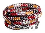 BSJ Boho Red, Gray, Orange Bead Soft Leather 5x Wrap 39 Inch Long Cuff Bracelet
