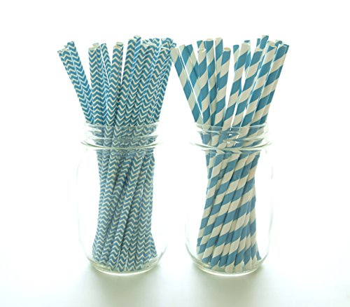 Blue Aqua Striped & Chevron Straws, Paper Drinking Straws, Dessert Table Wedding Party Straws (50 Pack) - Teal Aqua Blue Striped & Chevron (Chevron Blue Dessert Plates)