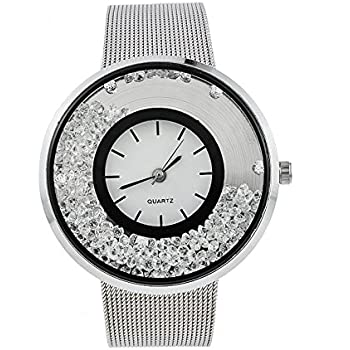Souarts Womens Silver Color Steel Band Round Dial Quicksand Rhinestone Quartz Analog Wrist Watch 22cm