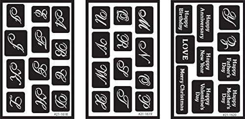 Armour Products Over 'n' Over Reusable Glass Etching Stencils 5in. x 8in. 3/Pkg Alphabet