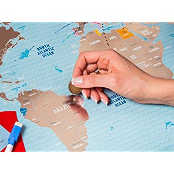 "Deluxe Scratch Off Travel World Map - Premium Edition - 31.5"" x 23.6"" - Rewritable Places I've Been Travel Map - US States Outlined - Made From Flexible Plastic to Last Longer by 1DEA.me"