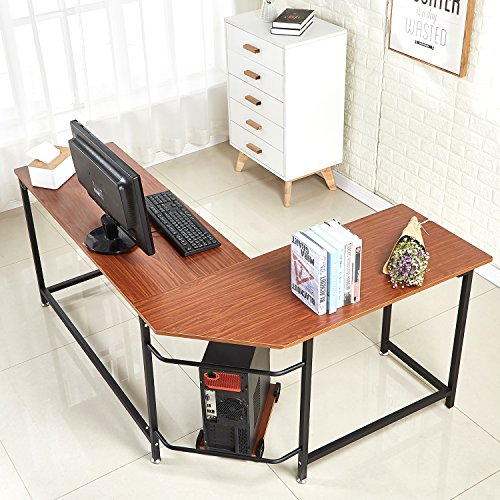 EGNM L Shaped Home Office Corner Computer Desk with CPU Stand PC Table Workstation Wood & Metal (Walnut)-by ()