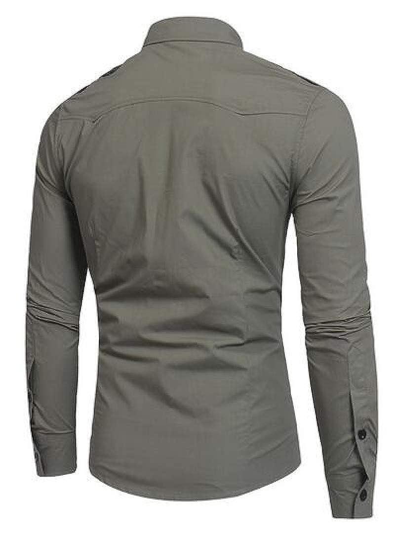 Fensajomon Mens Military Slim Fit Button Down Solid Long Sleeve Cargo Shirt