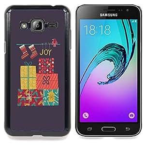 For Samsung Galaxy J3(2016) J320F J320P J320M J320Y Case , Feliz Navidad Vacaciones de Invierno Regalos - Diseño Patrón Teléfono Caso Cubierta Case Bumper Duro Protección Case Cover Funda