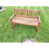 GARDEN BENCH IN SOLID HARDWOOD LATTICE BACK PATIO FURNITURE SEAT OUTDOOR SEATING