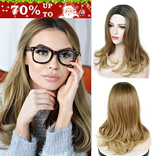 WIGNEE Ombre Color Wigs For Women 3 Tone Synthetic Black to Brown to Blonde Color Natural Wave Layered Wig Middle Part Skin Top (Black/Brown/Blonde) -
