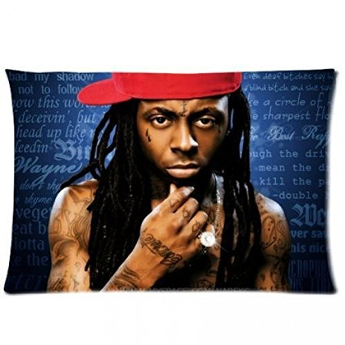 Rainbow Way America Rap King Lil Wayne Tunechi Weezy Tattoo Lyrics Collage Blue Background Personalized Pillowcase 16