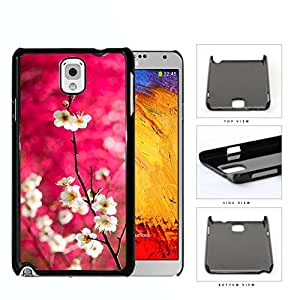 Dark Pink Background White Cherry Blossom Flowers Samsung Galaxy Note III 3 N9000 Hard Snap on Plastic Cell Phone Case Cover