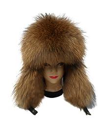 Easting Genuine Fox & Raccoon Fur & Leather Russian Ushanka Hat