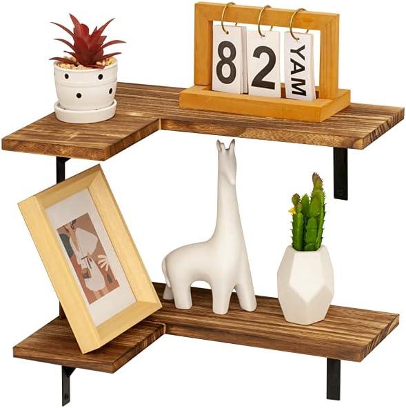 AZ L1 Life Concept Corner Shelves for Home Office Decor, Bedroom, Livingroom, 15 inch, Carbonized Black 3
