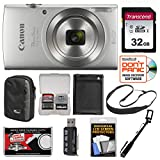 Canon PowerShot Elph 180 Digital Camera (Silver) with 32GB Card + Case + Battery + Selfie Stick + Sling Strap + Kit