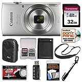 Canon PowerShot Elph 180 Digital Camera (Silver) with 32GB Card + Case + Battery + Selfie Stick + Sling Strap + Kit