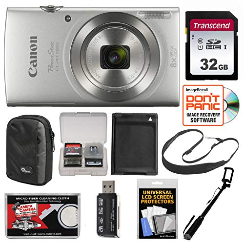 (Canon PowerShot Elph 180 Digital Camera (Silver) with 32GB Card + Case + Battery + Selfie Stick + Sling Strap + Kit)