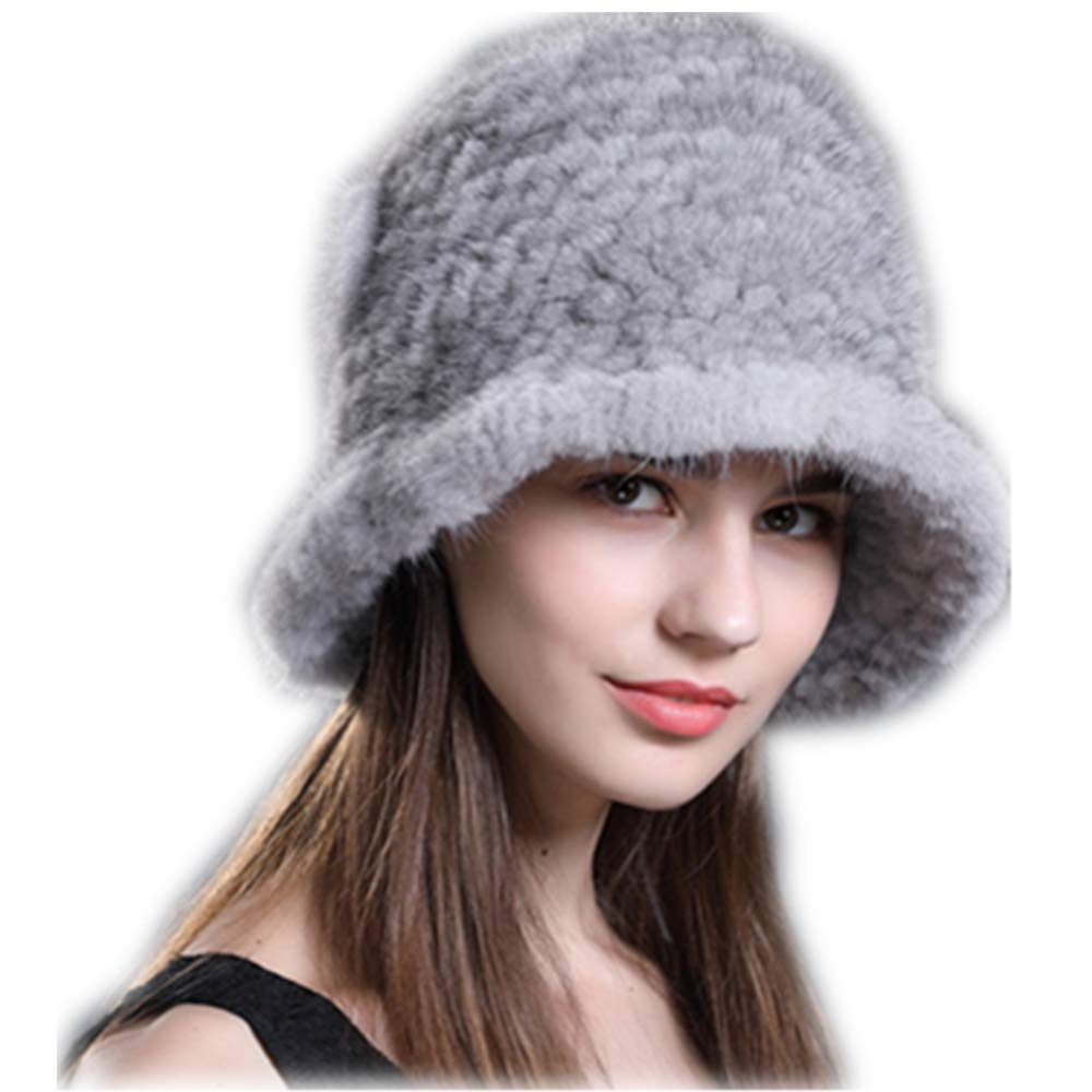 MH Bailment Knitted Weaving Mink Fur Beanie Hat Fur Flower Pot Cap (One Size, Sapphire)