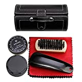 Shoe Shine Brush Set,AOLVO Leather Shoes Care Cleaning Polish Tools Set with Portable Black Leather Case, Travel Shoe Shine Care Kit 6 Piece