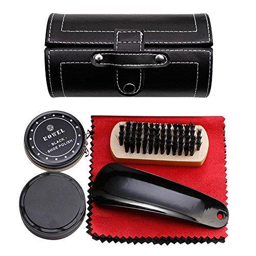 Shoe Shine Brush Set,AOLVO Leather Shoes Care Cleaning Polish Tools Set with Portable Black Leather Case, Travel Shoe Shine Care Kit 6 Piece by AOLVO (Image #8)