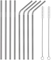 FSDUALWIN Stainless Steel Straws, Reusable Metal Drinking Straws (4 Straight and 4 Bend) + 2 Cleaning Brushes, Eco-Friendly