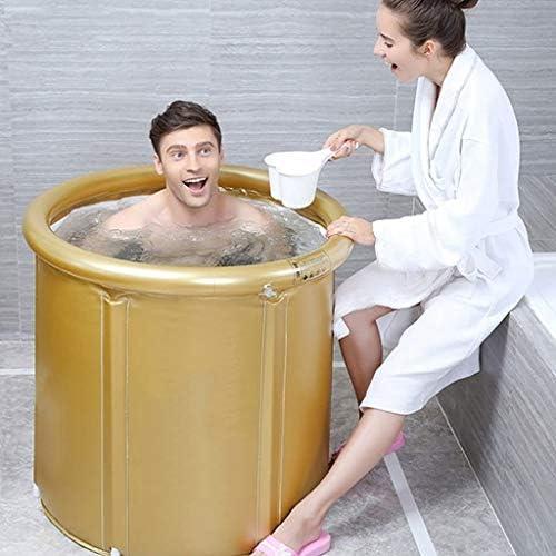 SBWFH ゴールデンバスタブ - ポータブルバスタブプラスチック家庭耐久性のあるバスルーム折りたたみバスタブ