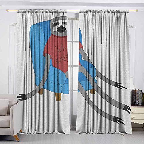 (VIVIDX Rod Pocket Curtains,Sloth,Urban Sloth T Shirt with Inscription Who Cares Procrastination Laziness Idleness,Room Darkening, Noise Reducing,W63x45L Inches Blue Grey Ruby)