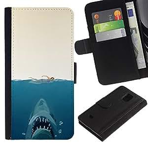 JackGot ( Shark Attack - Gracioso ) Samsung Galaxy S5 Mini (Not S5), SM-G800 la tarjeta de Crédito Slots PU Funda de cuero Monedero caso cubierta de piel