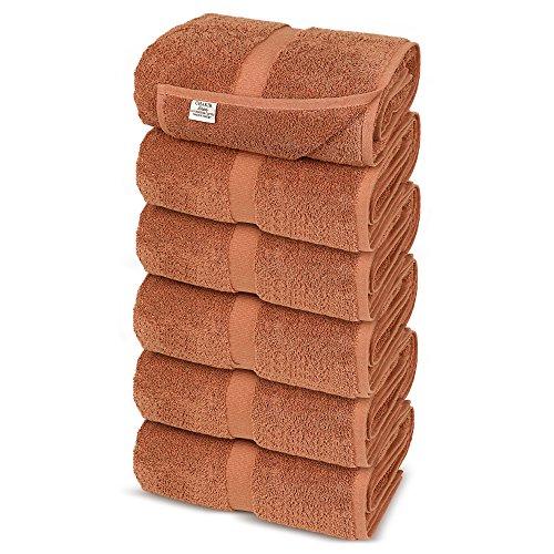 Chakir Turkish Linens Turkish Cotton Luxury Hotel & Spa Bath Towel, Hand Towel - Set of 6, Coral