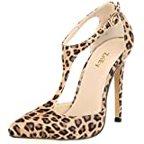 ZriEy Ladies Women's Pumps High Heel Pointed Toe Ankle T-Strap Sexy Shoes for Noble Business Community Wedding Party Dress Leopard Pattern size 5