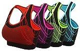 aimilian Women's Seamless Padded Sports Bra Workout Yoga Bras L Blue Rose Green Orange