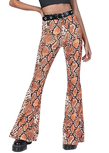 doublebabyjoy Women Leopard Print High Waist Flare Pants Lady Floor-Length Bell Bottom Autumn Winter Wide Leg Trousers (Yellow, S) (Girls Flare Bottom Pant)