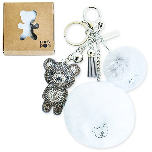 Fluffy Pom Keychain. Give a Gift of Friendship! Furball Keychain with Rhinestone Teddy Bear. For Purses and (Bling Teddy)