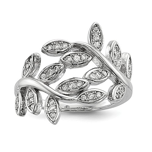 925 Sterling Silver Leave Cubic Zirconia Cz Band Ring Size 7.00 Flowers/leaf Fine Jewelry For Women Valentines Day Gifts For Her from ICE CARATS