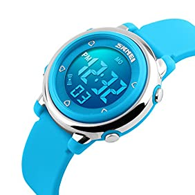 Kids Outdoor Sport LED Digital Electrical Luminescent Waterproof Alarm Children Dress Wrist Watch with Stopwatch and Silicone Band for Boys Girls - Blue