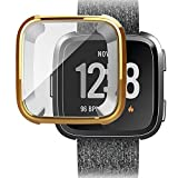 HighlifeS for Fitbit Versa Screen Protector Case Full 360 Protection Gel Bumper Cover (Gold)